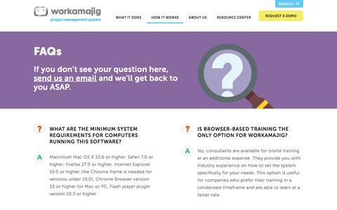 Screenshot of FAQ Page workamajig.com - Workamajig™ Platinum   FAQ - captured Jan. 11, 2016