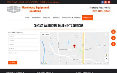 Screenshot of Contact Page warehouse-equipment-solutions.com - Warehouse Solutions - Grand Prairie, TX - Warehouse Equipment Solutions - captured July 8, 2018