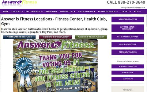 Screenshot of Contact Page Maps & Directions Page answerisfitness.com - Locations - captured July 8, 2018