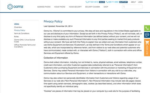 Screenshot of Privacy Page ooma.com - Privacy Policy - Free Home Phone Service | Ooma – Ranked # 1 Internet Home Phone Service - captured July 12, 2018