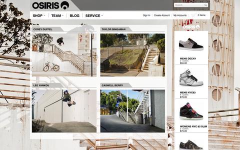 Screenshot of Team Page osirisshoes.com - Osiris Shoes - captured Oct. 26, 2014