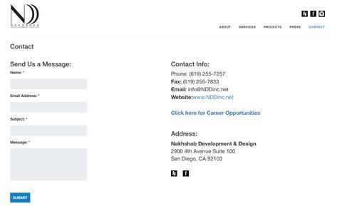 Screenshot of Contact Page nddinc.net - NDD -  Contact - captured Feb. 17, 2016
