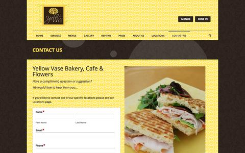 Screenshot of Contact Page yellowvase.com - Bakery, Flowers & Cafe | YELLOW VASE | Contact Us - captured Oct. 7, 2014