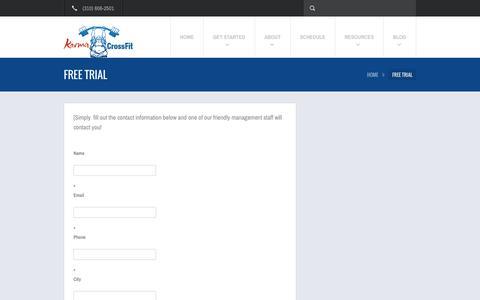 Screenshot of Trial Page karmacrossfit.com - Free Trial    Karma Crossfit - captured Sept. 30, 2014