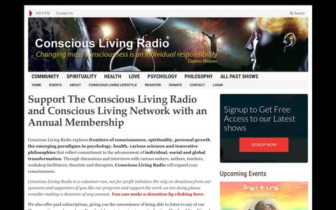 Screenshot of Support Page consciouslivingradio.org - Support The Conscious Living Radio and Conscious Living Network with an Annual Membership - Conscious Living Radio - captured July 20, 2018