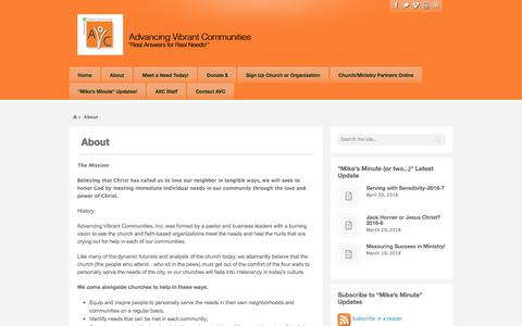 Screenshot of About Page vibrantcommunities.org - About   Advancing Vibrant Communities - captured Sept. 24, 2018
