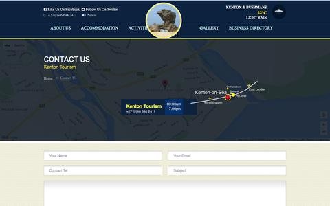 Screenshot of Contact Page kenton.co.za - Kenton Tourism | Contact Us - captured March 16, 2016