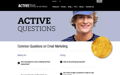 Screenshot of FAQ Page activetrail.com - FAQ about Email Marketing | ActiveTrail - captured Oct. 29, 2014
