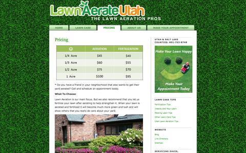 Screenshot of Pricing Page lawnaerateutah.com - Utah Lawn Aeration Pricing   The Lawn Aeration Pros In Utah - captured Oct. 26, 2014