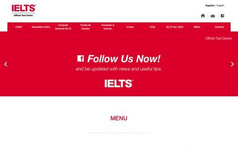 Screenshot of Blog ielts.org.ar - MENU | IELTS Argentina - captured Dec. 17, 2018