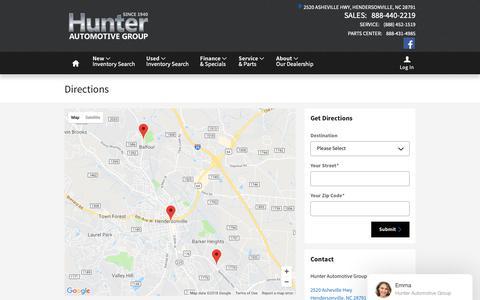 Screenshot of Maps & Directions Page hunterautogroup.com - Hunter Automotive Group | New Subaru, Volvo, Hyundai, Nissan dealership in Hendersonville, NC 28791 - captured Sept. 30, 2018