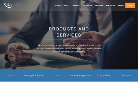 Screenshot of Products Page granitenet.com - Granite Telecommunications - - captured Jan. 16, 2016