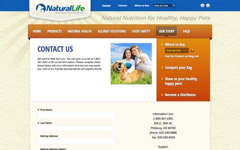 Screenshot of Contact Page nlpp.com - Contact Natural Life Pet Products - captured Oct. 7, 2014