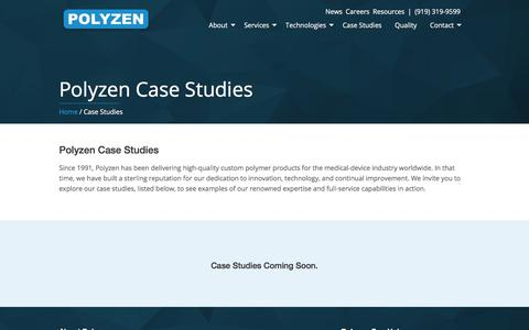 Screenshot of Case Studies Page polyzen.com - Case Studies - Medical Component Manufacturing | Polyzen, Inc. - captured Aug. 11, 2017