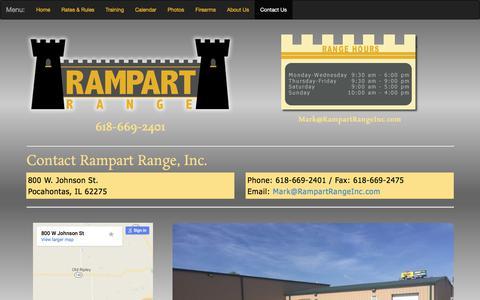 Screenshot of Contact Page rampartrangeinc.com - Shooting Range | Pocahontas, Illinios | Rampart Range, Inc. - captured Nov. 12, 2017