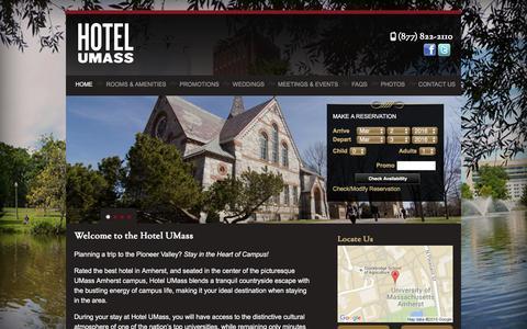 Screenshot of Home Page hotelumass.com - Home | Hotel UMass - captured March 2, 2016