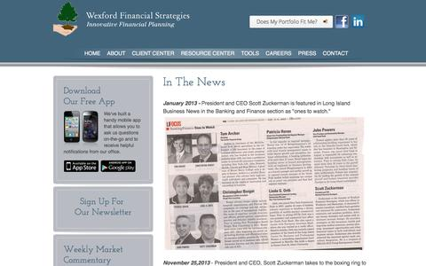 Screenshot of Press Page wexfordfs.com - President and CEO Scott Zuckerman In The News - captured March 14, 2016