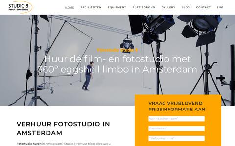 Screenshot of Home Page studio8amsterdam.nl - Professionele fotostudio huren in Amsterdam? Huur Studio 8. - captured Nov. 5, 2018