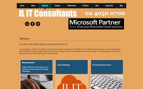 Screenshot of Services Page jlit.com.au - jlit-consultants | Services - captured Nov. 18, 2016