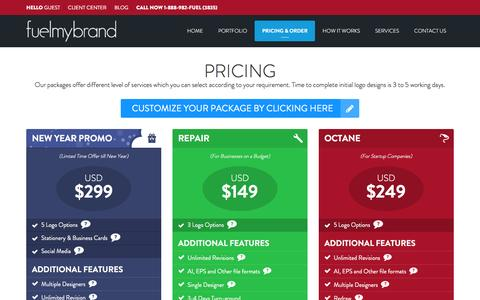 Screenshot of Pricing Page fuelmybrand.com - Affordable Logo Design Pricing and Packages - FuelMyBrand - captured Jan. 8, 2016