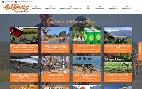 Screenshot of Home Page alltrails.com.au - AllTrails Bicycle Tours Australia - captured Oct. 25, 2018
