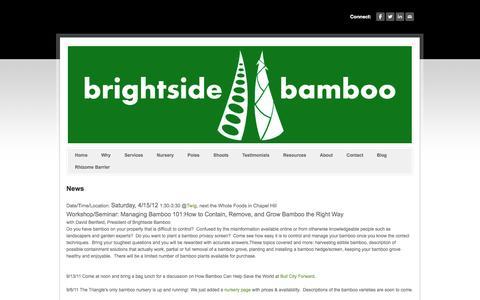 Screenshot of Press Page brightsidebamboo.com - News - Brightside Bamboo - Bamboo nursery, landscaping, farming, and poles - captured Sept. 30, 2014