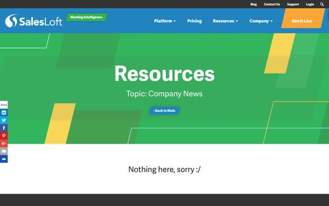 Screenshot of Blog salesloft.com - company news Archives - SalesLoft - captured Sept. 19, 2018