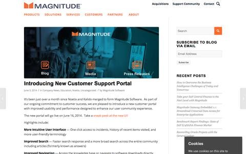 Screenshot of Support Page magnitude.com - Introducing New Customer Support Portal - Magnitude - captured Oct. 3, 2019