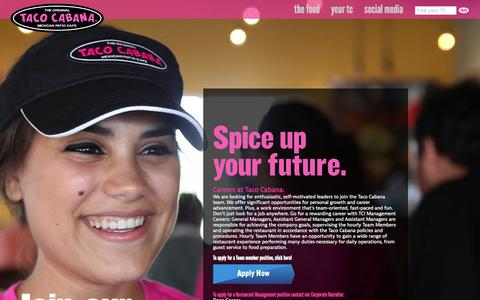 Screenshot of Jobs Page tacocabana.com - Careers at Taco Cabana. | Taco Cabana - captured Sept. 19, 2014