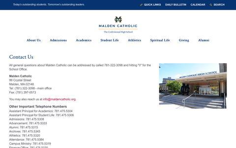 Screenshot of Contact Page maldencatholic.org - Contact Us - Malden Catholic - captured June 28, 2018