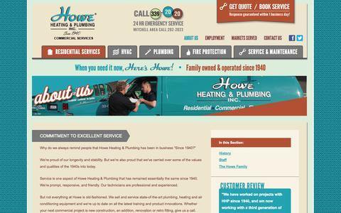 Screenshot of About Page howeinc.com - About Us - Howe Commercial - captured Oct. 3, 2014