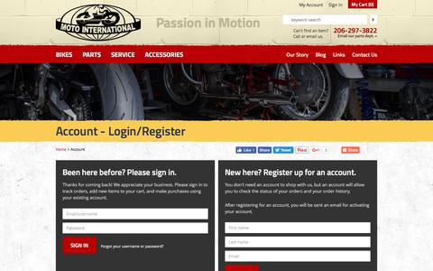 Screenshot of Login Page motointernational.com - Account - Login/Register | Moto International - captured Nov. 30, 2016