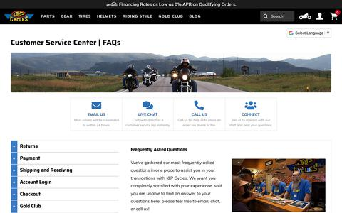 Screenshot of Contact Page FAQ Page Support Page jpcycles.com - Customer Service Center | JPCycles.com - captured Sept. 28, 2019