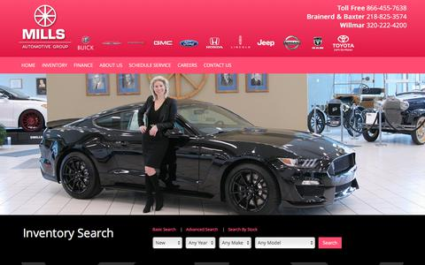 Screenshot of Home Page millsauto.com - Brainerd Group dealer in Brainerd MN - New and Used Group dealership St. Cloud Willmar Bemidji Duluth MN - captured Oct. 19, 2017