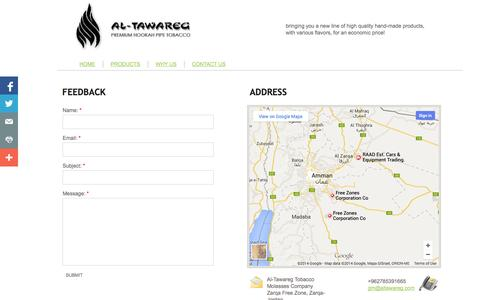 Screenshot of Privacy Page Contact Page al-tawareg-tobacco.com - CONTACT US - captured Oct. 23, 2014