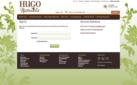 Screenshot of Login Page hugonaturals.com - Hugo Naturals : member : login - captured Oct. 22, 2014