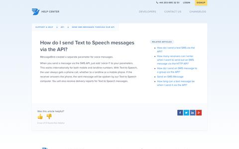 How do I send Text to Speech messages via the API? – Support & Help