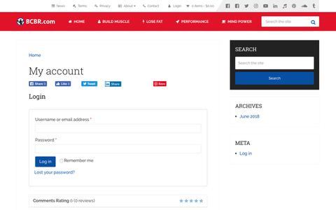 Screenshot of Login Page bcbr.com - My account – BCBR - captured Aug. 18, 2019