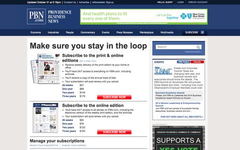 Screenshot of Signup Page pbn.com - Subscribe - Providence Business News - captured Nov. 2, 2014