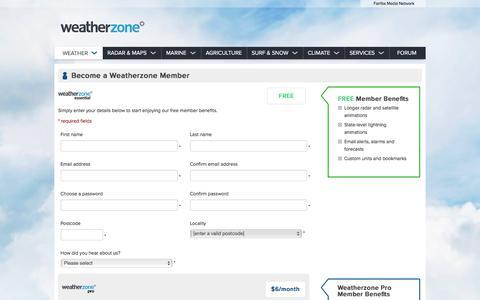 Screenshot of Signup Page weatherzone.com.au - Join Weatherzone - captured Dec. 3, 2015
