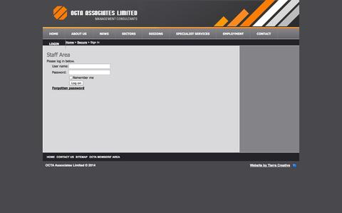 Screenshot of Login Page octa.co.nz - Project Managers | OCTA Associates Ltd New Zealand - Project Management Specialists - captured Oct. 9, 2014