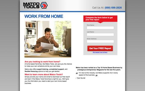 Screenshot of Landing Page matcotools.com - Work From Home with Matco Tools - captured Aug. 23, 2016