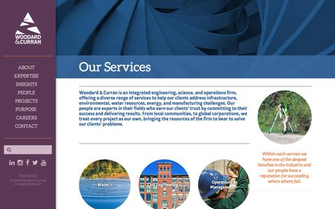 Screenshot of Services Page woodardcurran.com - Engineering, Science, & Operations Services - captured Sept. 20, 2018