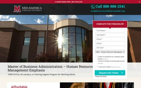Screenshot of Landing Page macu.edu - Master of Business Administration | Human Resource Management Emphasis - captured April 7, 2017