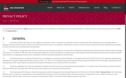 Screenshot of Privacy Page era.com.sg - Privacy Policy | ERA Realty Network Singapore - captured May 30, 2018