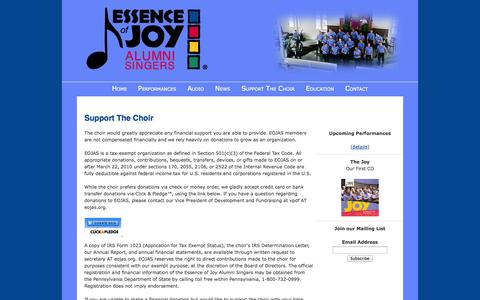 Screenshot of Support Page eojas.org - Essence of Joy Alumni Singers (EOJAS) – Support The Choir - captured Oct. 3, 2014
