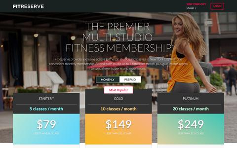 Screenshot of Pricing Page fitreserve.com - The Premier Multi-Studio Fitness Membership | FitReserve - captured Feb. 3, 2016
