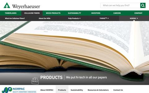 Screenshot of Products Page weyerhaeuser.com - Weyerhaeuser :: Products - captured Sept. 2, 2016