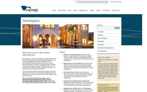 Screenshot of Developers Page ihome.asia - Developers | iHome Systems - captured Oct. 6, 2014