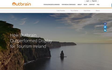 Screenshot of Case Studies Page outbrain.com - Tourism Ireland Case Study: Outperformed Display | Outbrain.com - captured April 19, 2018